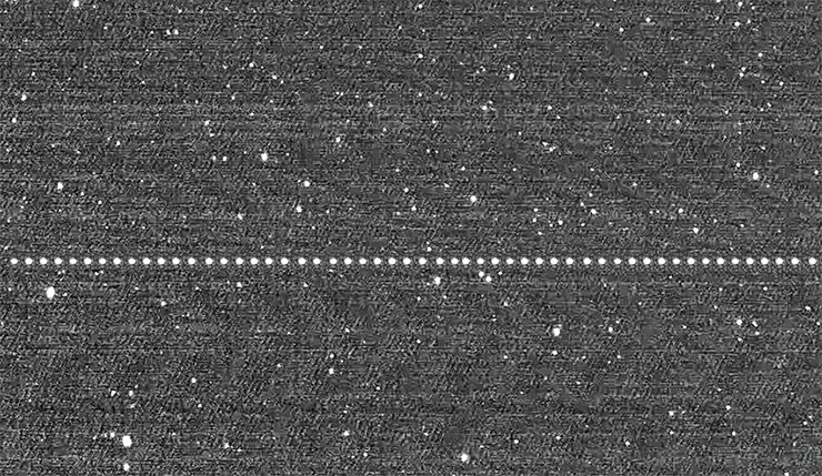 A combined image of the moving asteroid 2012 DA14 was made based on a series of shots obtained with the help of MASTER-2 telescope in Blagoveshchensk