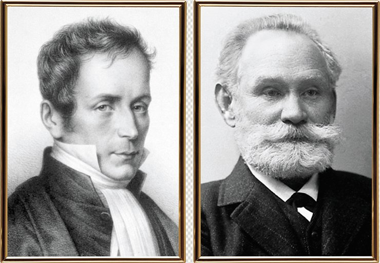 René Laennec, a famous French physician of the 19th century, was the first to notice the correlation of fatty degeneration of internal organs with cardiovascular and liver diseases (left). Ivan P. Pavlov (right), a famous Russian physician, succeeded in designing the first experimental model of a bypass blood flow which develops in liver cirrhosis. Nobel Media AB 2015