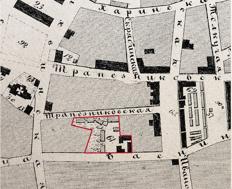 Basnins' mansion is marked on the plan of province Irkutsk. The large structures, connected with passes, along the Malaya Trapeznikovskaya street are the hothouse complex. 1868. RGADA (The Russian State Archive of Ancient Acts)