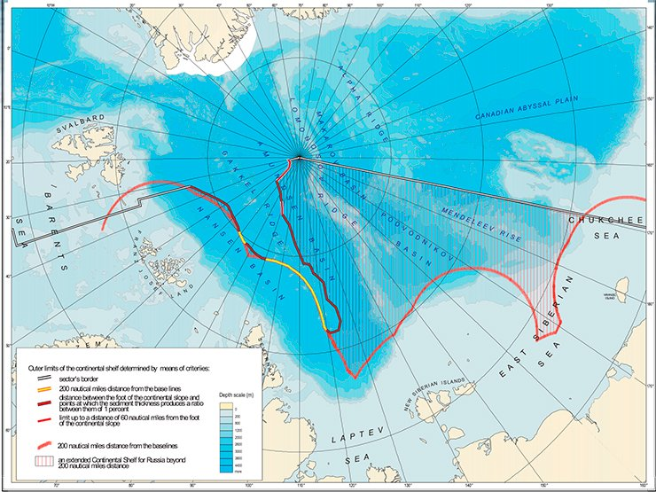 This is how the bathymetric map shows the area of Russia's extended continental shelf in the Arctic, including the Lomonosov and Mendeleev Ridges