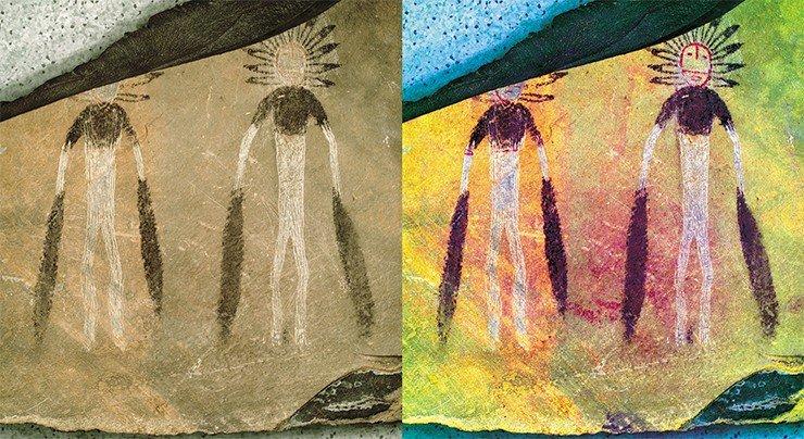 Исследование пигментов на плитах Каракола (Горный Алтай) раскроет тайну художественной палитры эпохи бронзы. Перекрывание одних изображений на плитах Каракола другими может рассматриваться как свидетельство ритуального «уничтожения» символов минувшей эпохи. А. Пахунов © ИА РАН