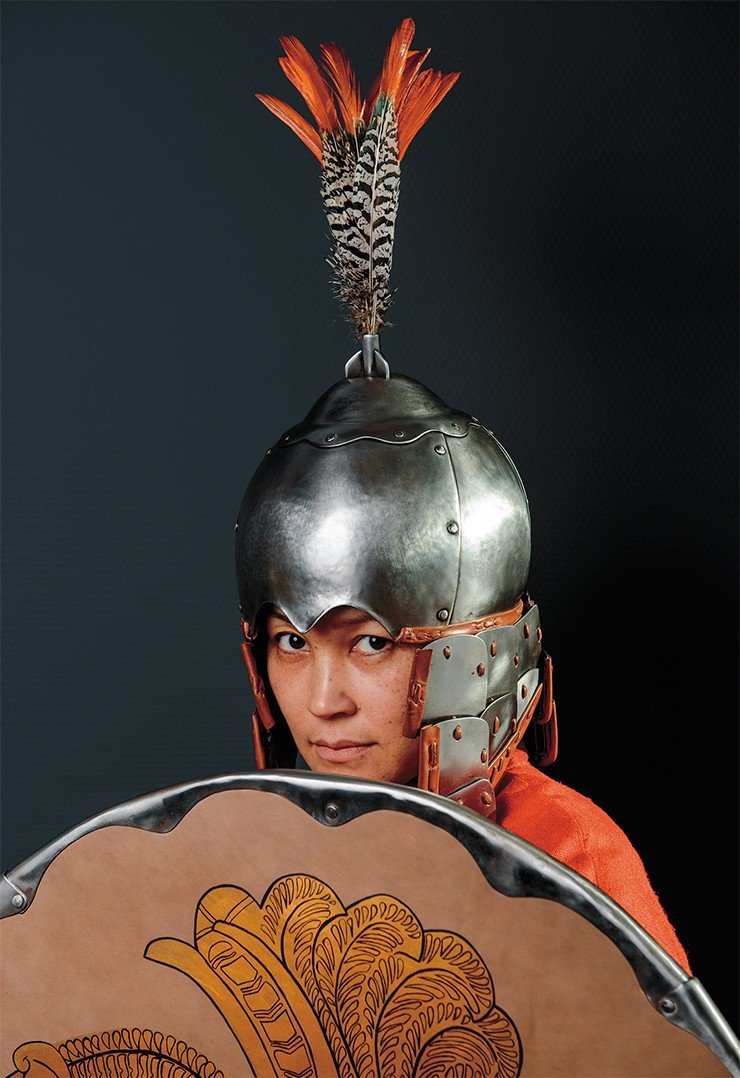 Scholarly historical reconstruction of a helmet (and armor) worn by a Toba Wei warrior of the 6th century