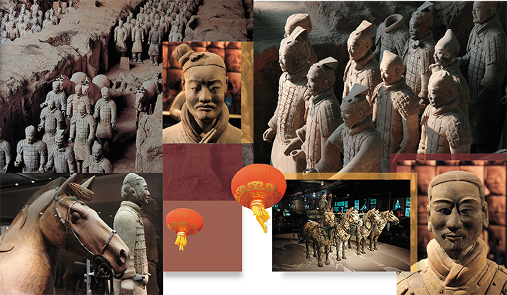 The famous Terracotta army of the first Chinese emperor Qin Shi Huangdi in Xi'an. Some experts believe this is not an army, but rather a sort of police forces. Archaeological work on the site is ongoing and can be observed by numerous visitors of the museum complex. Warrior figures were made using the same templates, but each head was modeled individually, bearing its own unique features. It is still unclear whether these figures represented people who were alive or already deceased at the time. The image of a terracotta warrior has become one of the symbols of the modern China, widely used in souvenir production, commercials and toys