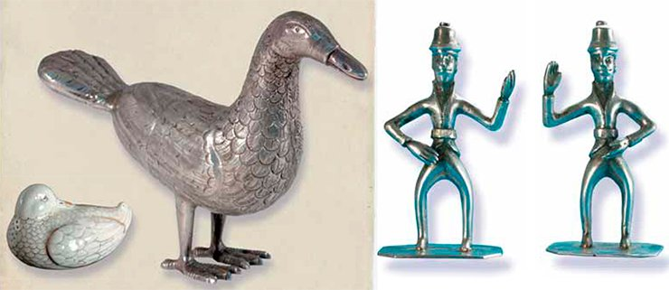 A silver statuette of a goose, the core of the figurine of the Mansi's guardian spirit, and a porcelain salt-cellar shaped as a duck, a cult attribute of the Mansi. Silver figurines of the Mansi and Khanty's guardian spirits (right)