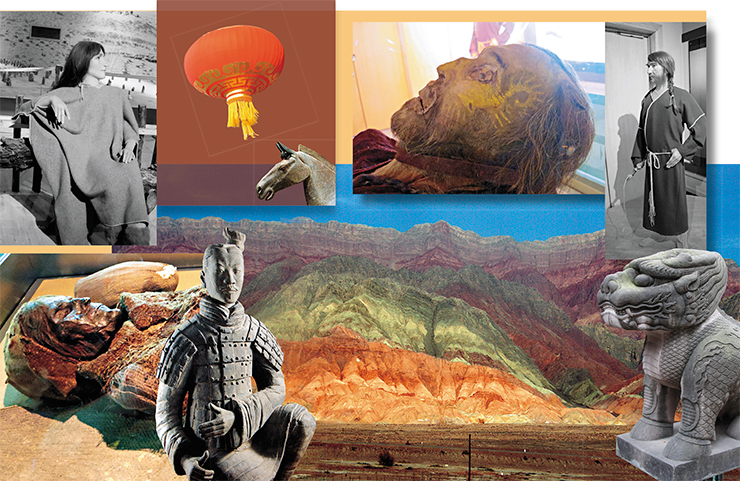 When the wind dies down, dust settles, and the sun casts its light over the dead desert space; the dull grays of its sandy ridges burst into a gamut of bright colors, softening the harsh landscape. The appearance of mummies preserved in the area due to its arid climate and salty soils, demonstrates the Caucasian features of its ancient population, confirmed with paleogenetic analysis. This is true for the thick-haired Kroraine princess, whose life-sized reconstruction mannequin is displayed in the Museum of the Xinjiang Uygur Autonomous Region next to an anonymous female mummy covered with mesh-like fabric, and a male mummy with a crooked nose and a yellow spiral painted on his face; his life-sized reconstruction, holding a whip, stands nearby