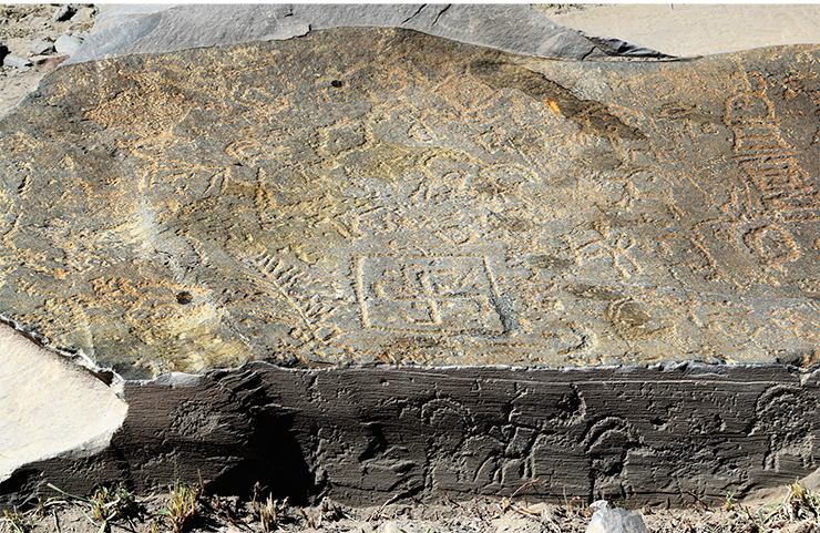 A large flat stone slab, which lies at the entrance to the new rock art site near the village of Akshow, shows images of the various Buddhist symbols. The slab lies flat; it is completely covered with engravings, but the images can be barely seen on the surface, as if obliterated by time. The slab awaits a more detailed study, but it has already been found to contain images of flowers, branches, swastikas, solar symbols, and tower-shaped stupas. Even its end part is covered with much better preserved images of the ibex. Zanskar, 2019