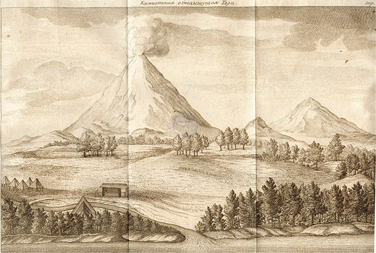 Kamchatka Volcano. Engraving from the 1755 Russian edition of The Description of the Land of Kamchatka