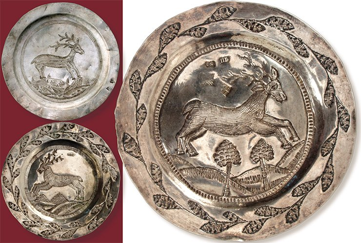 "A saucer depicting a deer. Tobolsk, the first quarter of the 19th century. Silver, 10.6 cm in diameter. Silversmith's hallmark: П•Б (cyr.). A saucer depicting a galloping deer. Tobolsk, 1820. Silver, 10 cm in diameter. Hallmarks: the coat of arms of Tobolsk; ""МБ / 1822"" (cyr.), the assay's mark by M. Bogdanov; П•Б (cyr.); 84 silver mark. A saucer depicting a deer. Tobolsk, the first quarter of the 19th century. Silver, 10 cm in diameter. Silversmith's hallmarks: П•Б (cyr.) (two marks with one overlapping the other). Museum of the Institute of Archaeology and Ethnography SB RAS (Novosibirsk)"