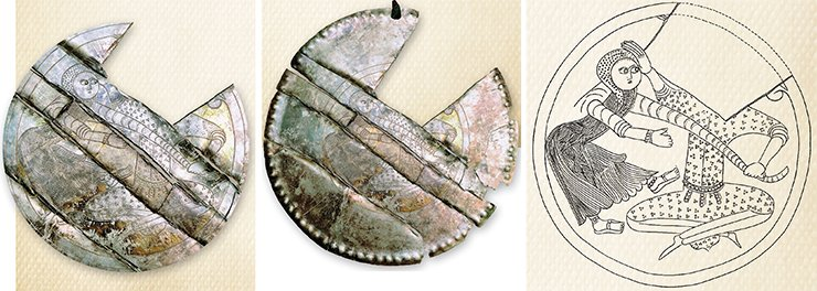 Kondian silver badge. Medallion of the Kondian badge. Photo by A. Baulo, drawing by M. Miller. Museum of History and Culture of the Peoples of Siberia and the Far East, Institute of Archaeology and Ethnography SB RAS