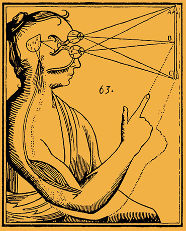 In the modern era, Rene Descartes became the first consistent advocate of the reductionist worldview to continue the tradition of the ancient philosopher Democritus. Top: a drawing from Descartes' Treatise on Man, dedicated to the function of the pineal gland. Public domain