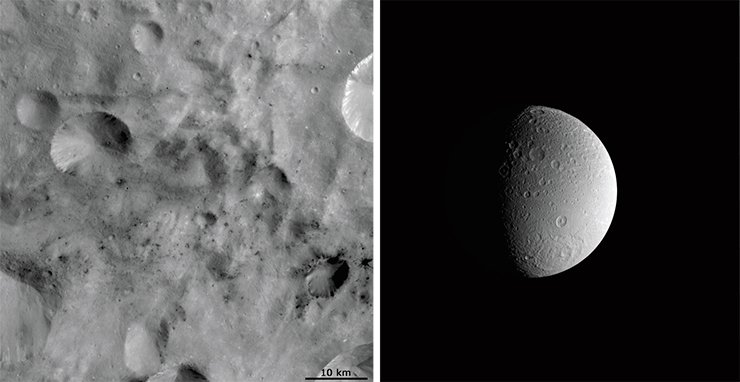 Detailed images of asteroid 4 Vesta (its diameter being approximately 530 km), made in 2011, show that it is also pockmarked with craters and small sites with dark spots that match carbonaceous chondrites in their composition. Image from Dawn spacecraft. Credit: NASA/JPL-Caltech