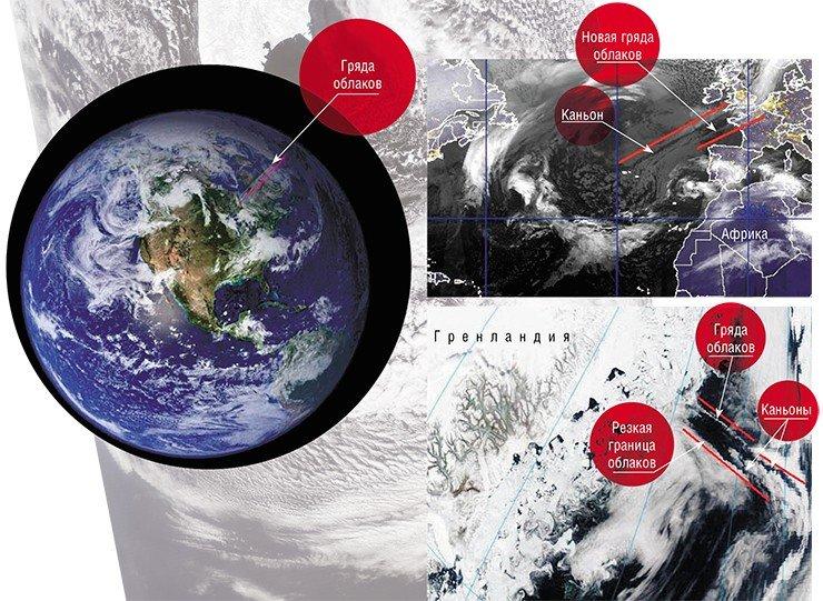 Гряда облаков протянулась через всю Северную Атлантику – от п-ва Ньюфаундленд до Балтики (слева). 9 марта 2011 г. параллельно линии этой гряды образовался каньон протяженностью 3 тыс. км, а над Бискайским заливом сформировалась другая облачная гряда (справа). Фото сделаны с ИСЗ на геостационарной орбите (NASA/GSFC, Rapid Response) и с ИСЗ MultiSat (Naval Research Laboratory, Marine Meteorology Division, Monterey, CA). Над разными участками разлома на дне Северной Атлантики у берега Гренландии одновременно образовались линейные аномалии всех известных видов: облачная гряда, переходящая в каньон, и расположенная южнее резкая граница облаков, также заканчивающаяся каньоном. Фото NASA/GSFC, Rapid Response 18 мая 2005 г.