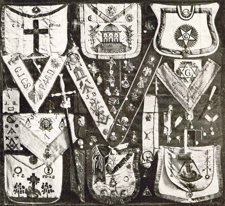 "The exhibition of 1912 with objects from D. G. Burylin's Masonic collection at the Exhibition ""1812"" in the hall ""Moscow 1812"": clasps (aprons) and sashes for different Masonic charters comprising part of Masonic dress; Masonic bags and Masonic symbols of different charters"