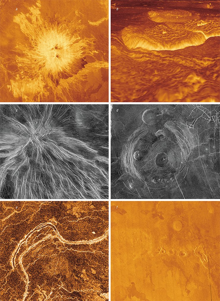 Various magmatic structures on the surface of Venus: (a) the unusual volcano Sapas Mons with a double summit; (b) a lava field in the Alpha Regio region; (c) radial dikes; (d) a corona-type volcano, i. e., a large uplift surrounded by a trough; (e) winding lava channels with a width of 1–2 km and length of tens to hundreds of kilometers; (f) shield plains with small volcanoes of a characteristic shape. Credit: NASA/JPL